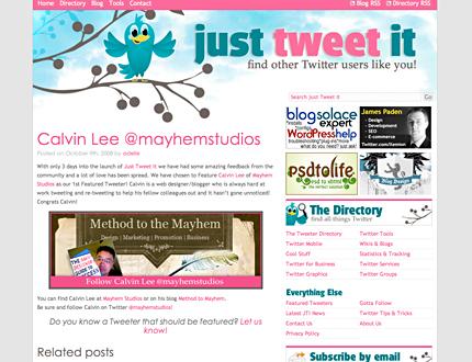 Mayhem Studios First Featured Tweeter on Just Tweet It