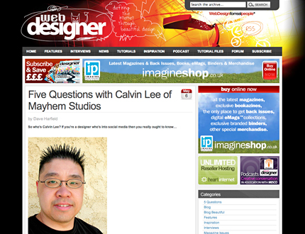 Web Designer Magazine: Five Questions with Mayhem Studios